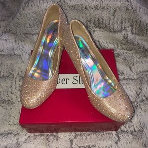 Women's Gold Silver Slipper Heels